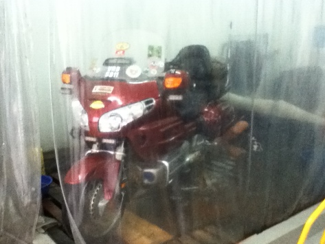 This Gold Wing can hardly fit in the area...but after 4 hours...as good and shiny as new